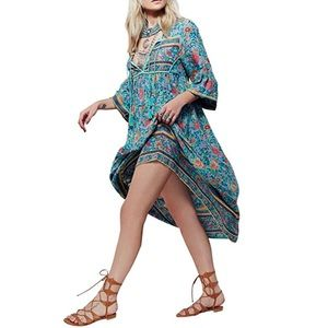 Dresses & Skirts - Boho Folk Flower Gypsy Midi Dress